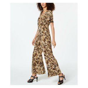 Thalia Sodi Womens Jumpsuit Cheetah Print Ruffle